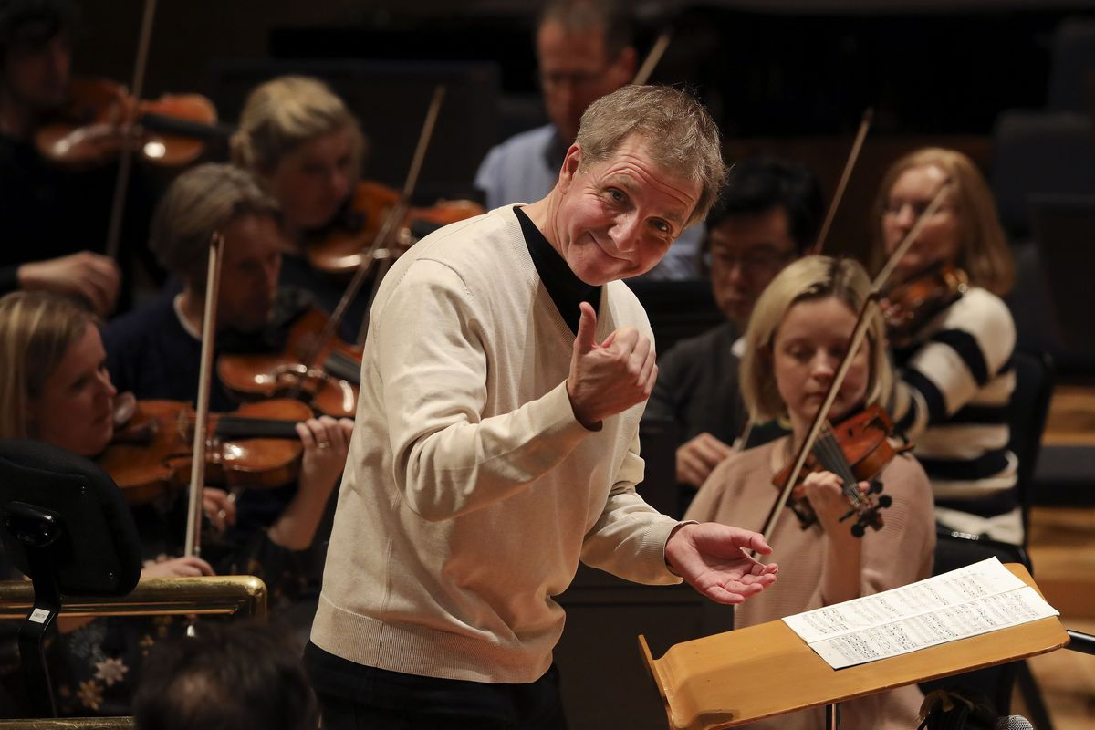 Thierry Fischer, music director of the Utah Symphony, conducts during a practice session at Abravanel Hall in Salt Lake City on Wednesday, Nov. 20, 2019.