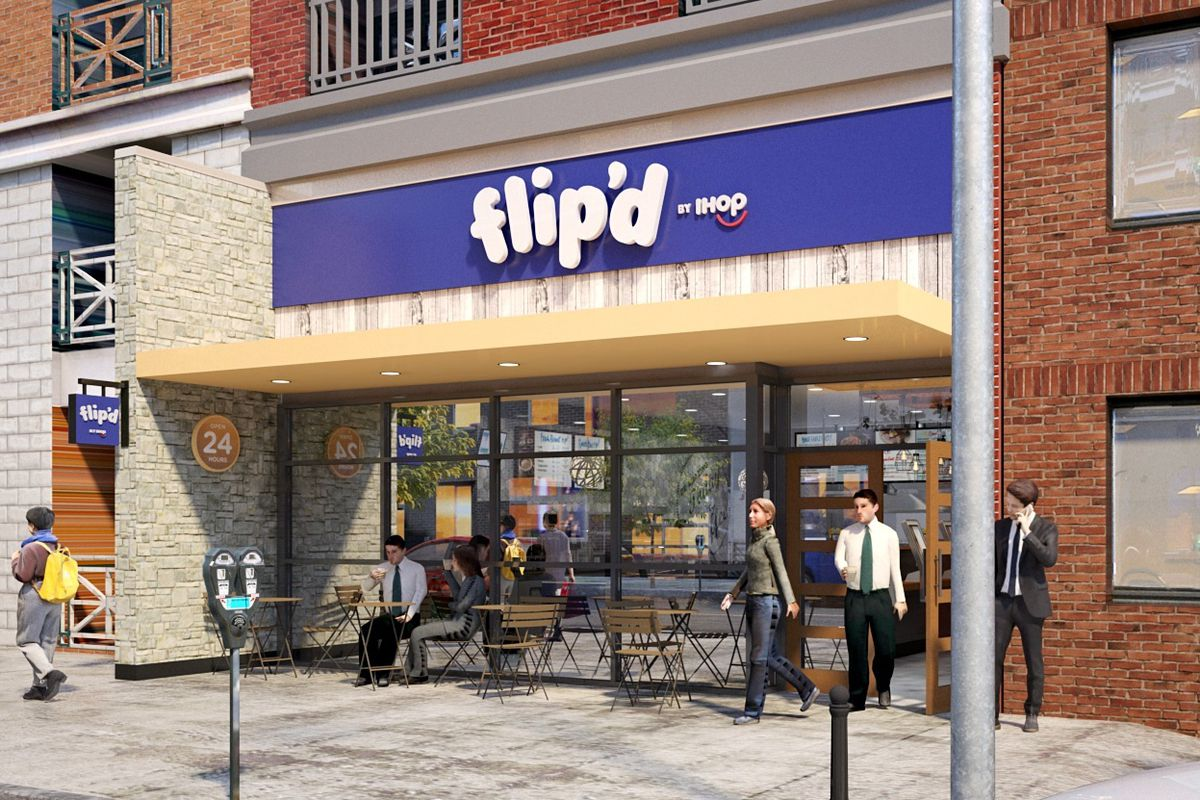 A mock-up of the exterior of a restaurant named Flip'd by IHOP, with chairs, tables, and customers in front of the restaurant.