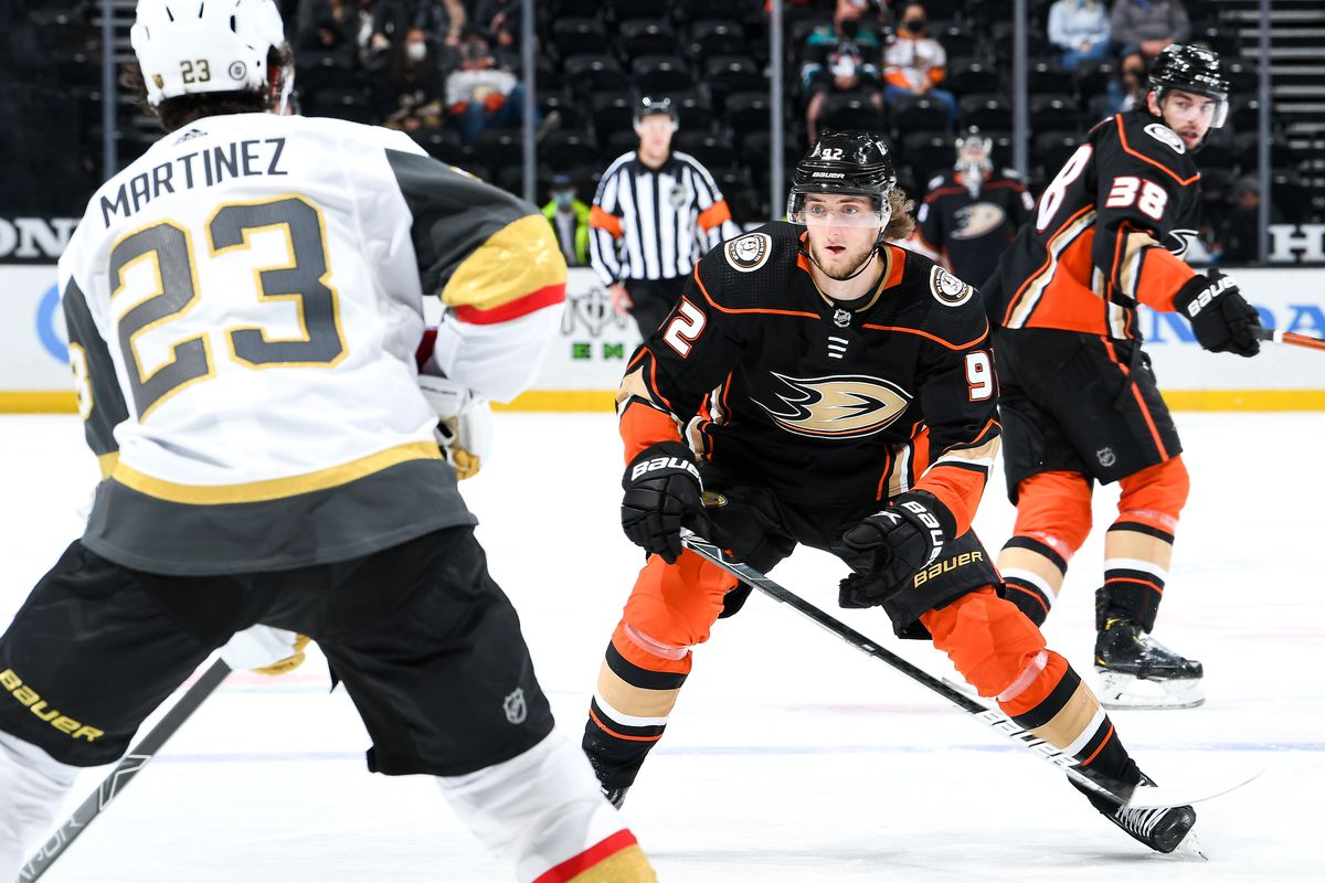 Alexander Volkov #92 of the Anaheim Ducks defends as Alec Martinez #23 of the Vegas Golden Knights controls the puck during the second period of the game at Honda Center on April 18, 2021 in Anaheim, California.