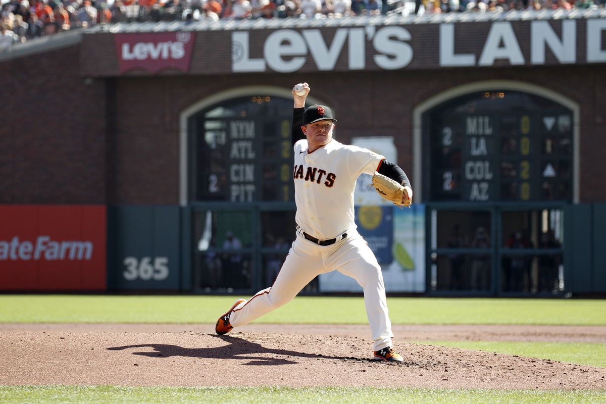 San Francisco Giants Pitcher Logan Webb (62) in action during the game between the San Diego Padres and San Francisco Giants on Oct. 3, 2021 at Oracle Park in San Francisco, CA.