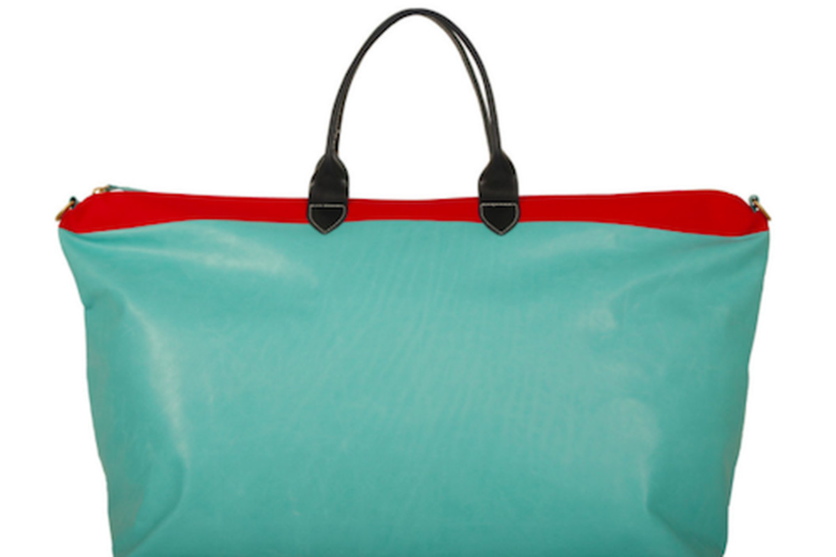 """The Weekender tote, $499; Image via <a href=""""http://www.clarevivier.com/collections/mens/products/weekender#Aqua-Red-Stripe-Weekender"""">Clare Vivier</a>"""