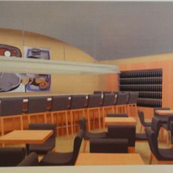 Rendering of the bar and lounge at Boulud Sud.