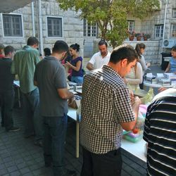 Hygiene kits are assembled by representatives of the LDS, Catholic and Greek Orthodox churches, as well as students from the University of Jordan.