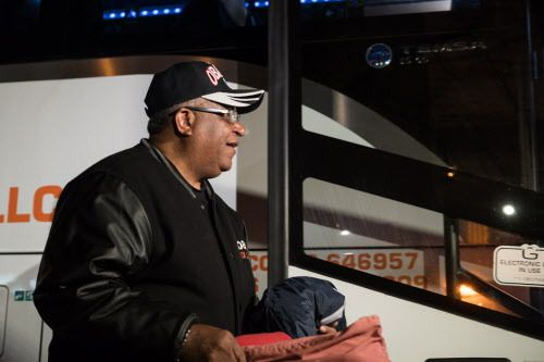Willie Dukes of Calumet City boards a bus outside Operation Push headquarters heading down to Memphis. | Max Herman/For the Sun-Times