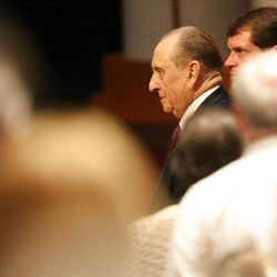 President Thomas S. Monson makes his way to his seat at Golden Days, A Celebration of Life, in honor of his 85th birthday at the LDS Conference Center in Salt Lake City on Friday, Aug. 17, 2012.
