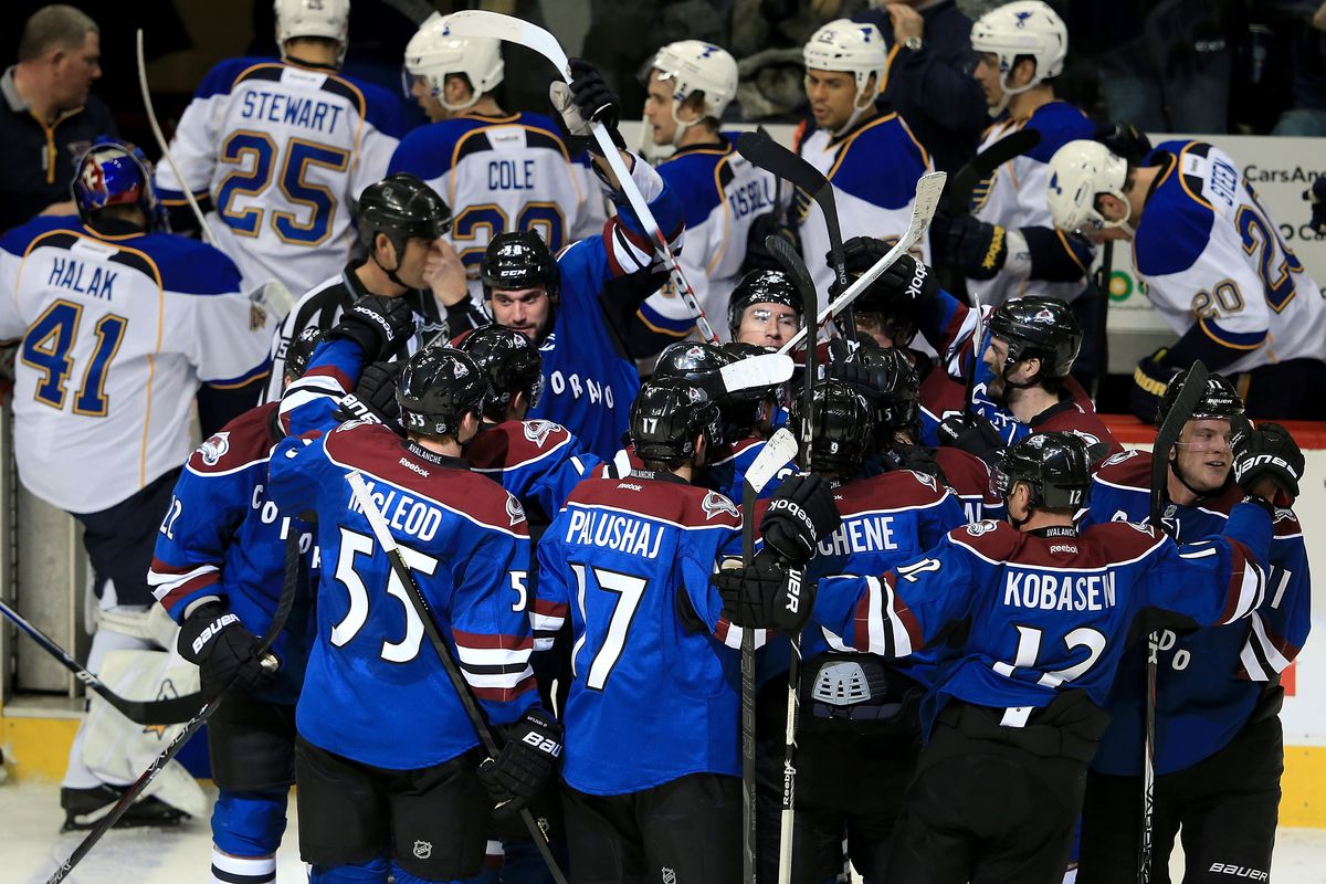 The Avs attempt to leave the ice is thwarted by Jamie McGinn's gravitational pull.