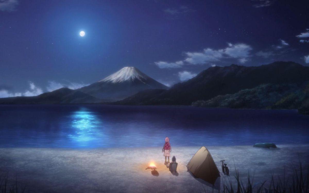 Nadeshiko Kagamihara and Rin Shima admiring the view of Mount Fuji at night in Laid-Back Camp