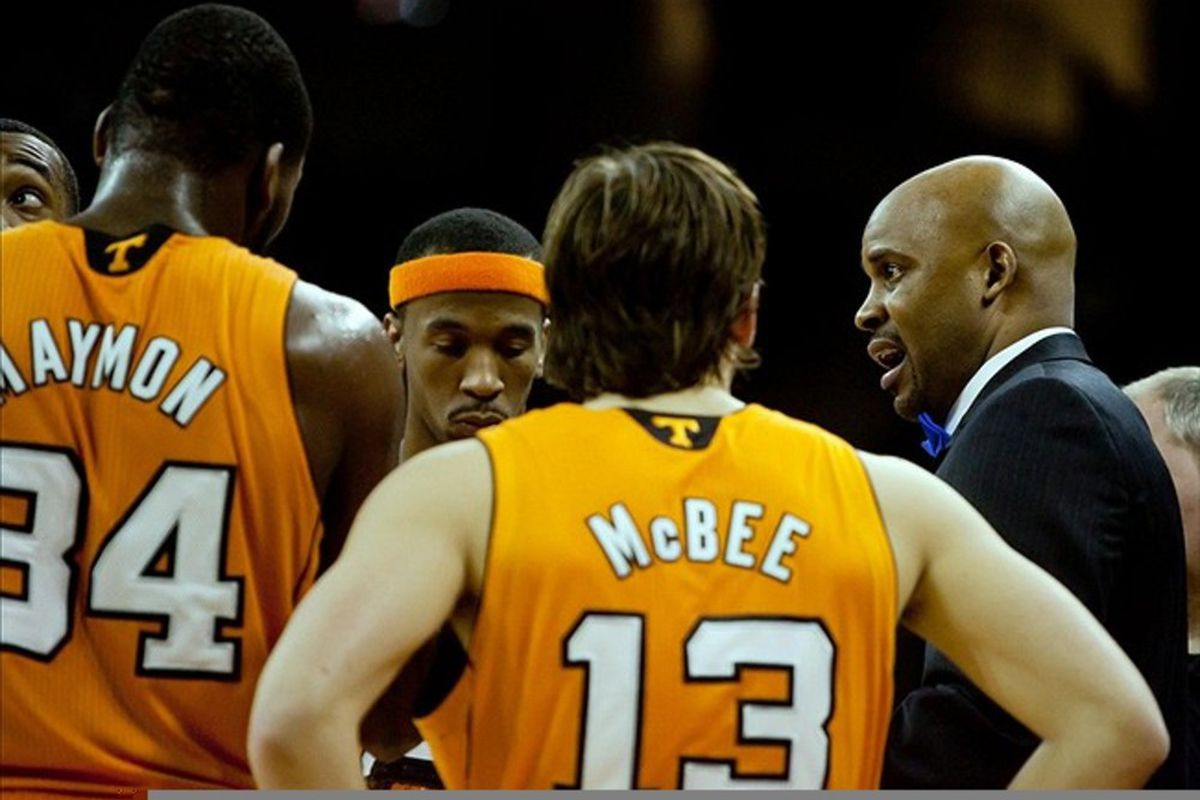 February 25, 2012; Columbia, SC, USA; Tennessee Volunteers head coach Cuonzo Martin speaks to his team during a timeout in the second half against the South Carolina Gamecocks at Colonial-Life Arena. Mandatory Credit: Jeff Blake-US PRESSWIRE