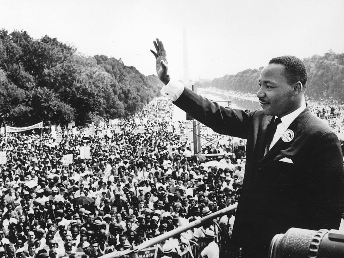 "Martin Luther King Jr., at the March on Washington in 1963, where he delivered the famous ""I Have a Dream"" speech."