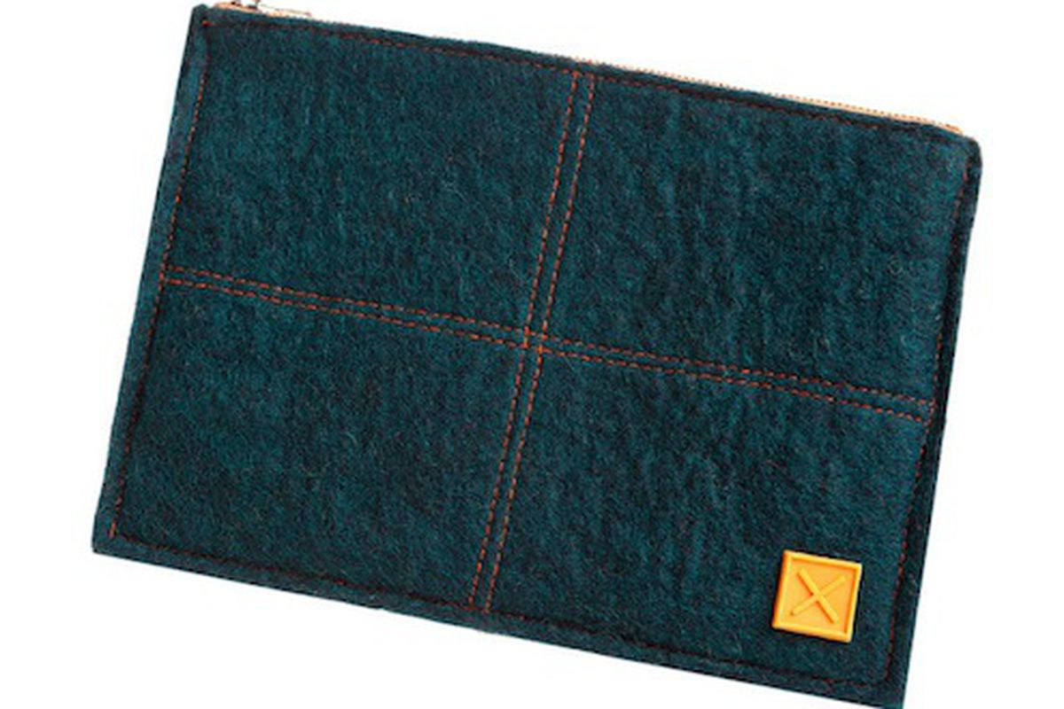 """N.3 Felt Pouch in Ink, $32, via <a href=""""http://mulxiply.myshopify.com/collections/all/products/n3feltpouchink"""">MULXIPLY/Givegive</a>"""