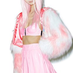 Your inner Baby Spice will emerge wearing this pink vinyl skirt.