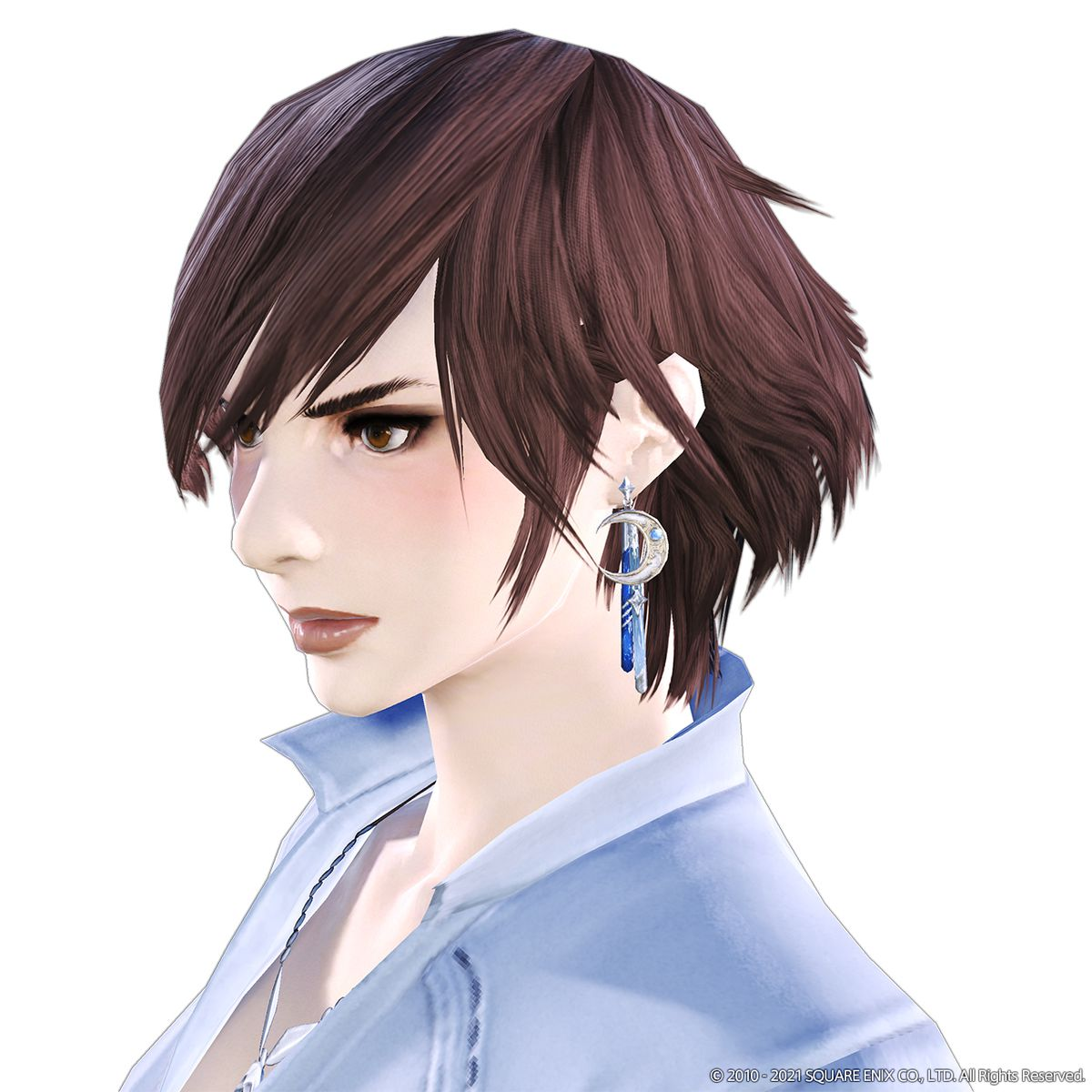 The Menphina Earring modeled by a female character. The earring is a silver moon with blue crystals.