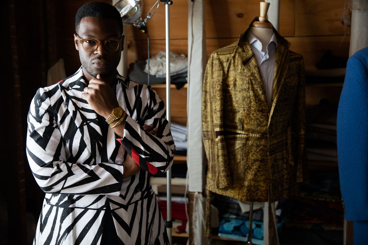 Walé Oyéjidé, creative director of Ikiré Jones, in some of his pieces.