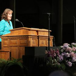 Sister Nancy J Maynes speaks before her husband, Elder Richard J. Maynes, during the Worldwide Devotional for Young Adults from the Tabernacle on Temple Square in Salt Lake City Sunday, May 1, 2016.