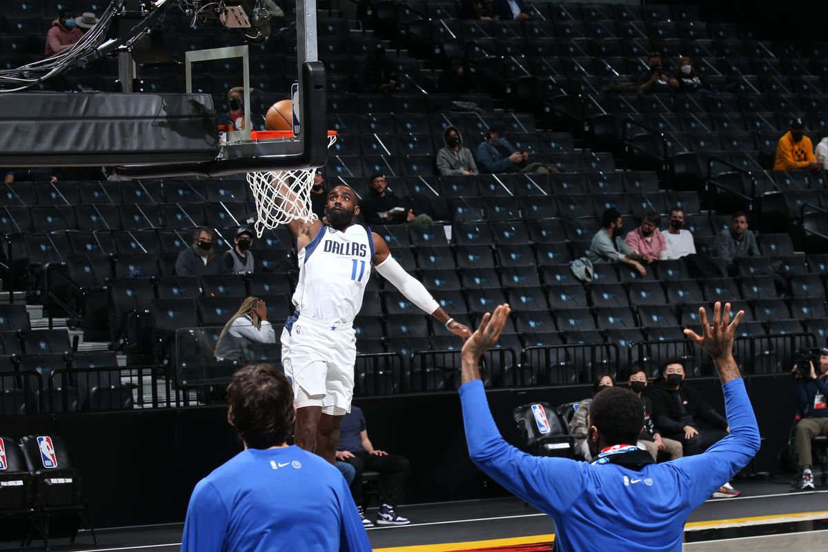 Tim Hardaway Jr. #11 of the Dallas Mavericks dunks the ball against the Brooklyn Nets on February 27, 2021 at Barclays Center in Brooklyn, New York.