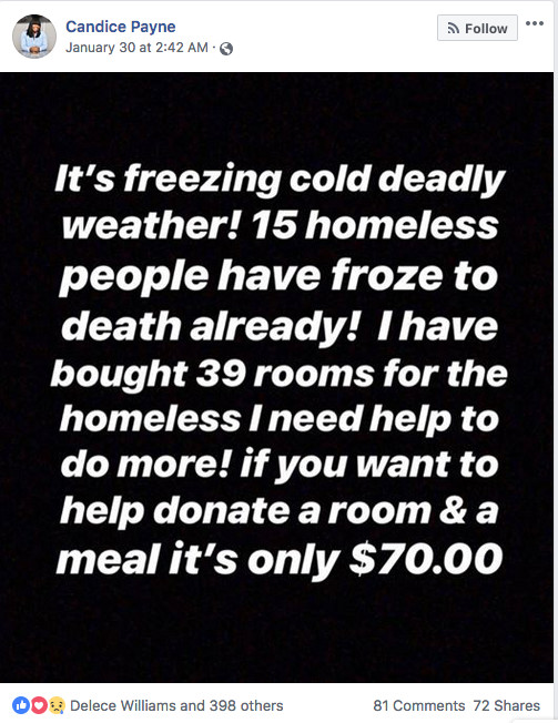 Candice Payne took to social media asking for help with her mission to house area homeless at a hotel during the polar vortex, and her plea went viral. | Instagram photo