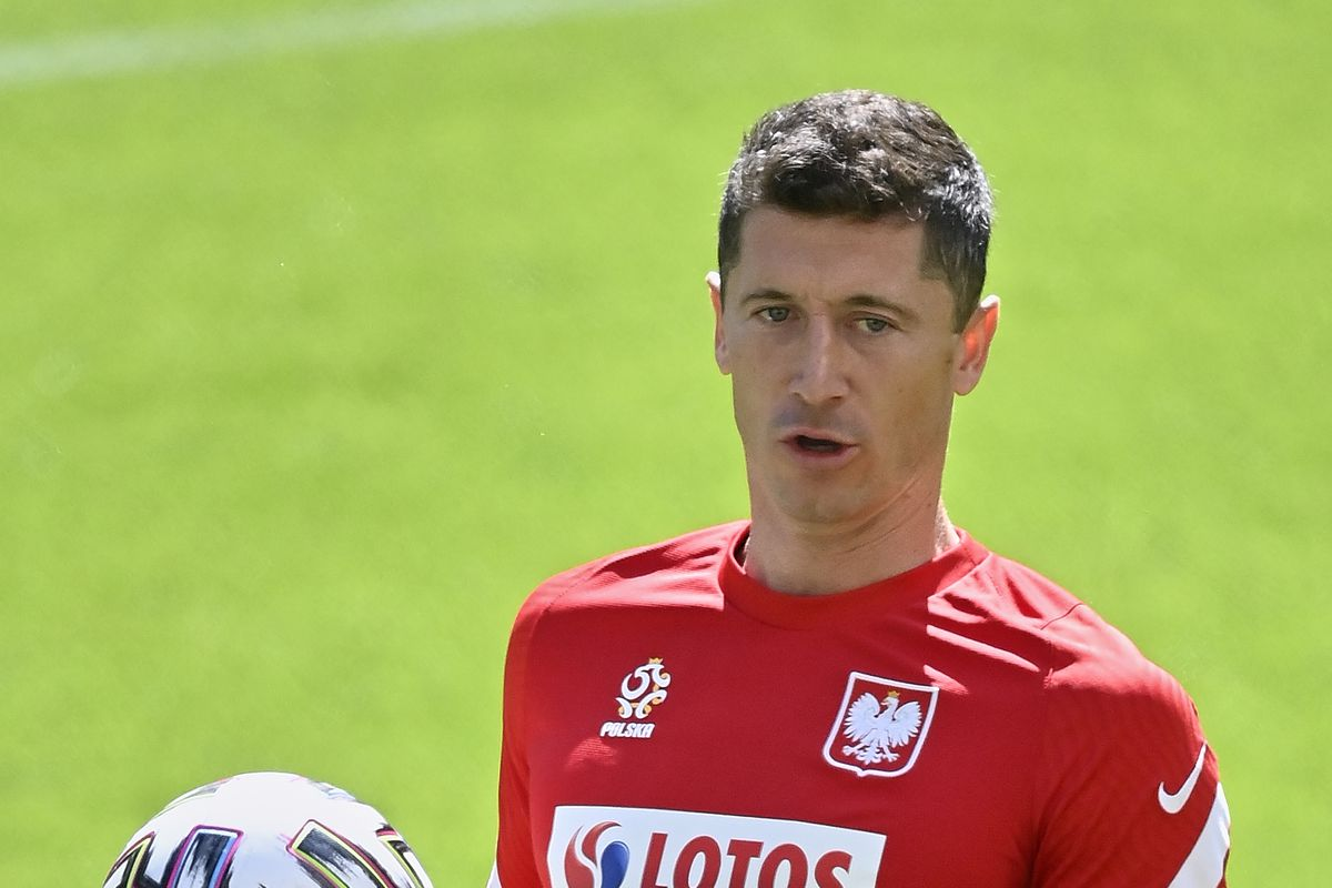 Robert Lewandowski of Poland during a Poland squad training session ahead of the UEFA EURO 2020 Championships at Polsat Plus Arena Gdansk on June 11, 2021 in Gdansk, Poland.