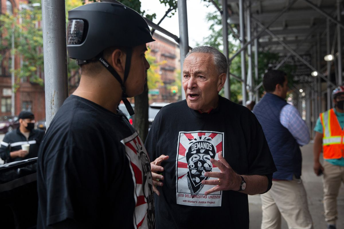 Senate Majority Leader Chuck Schumer (D-New York) met with a group of Deliveristas in Hamilton Heights, Oct. 13, 2021.