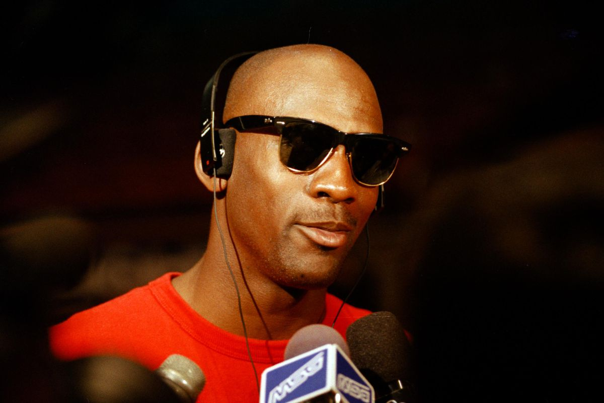 Michael Jordan faces reporters during the 1993 Eastern Conference finals.