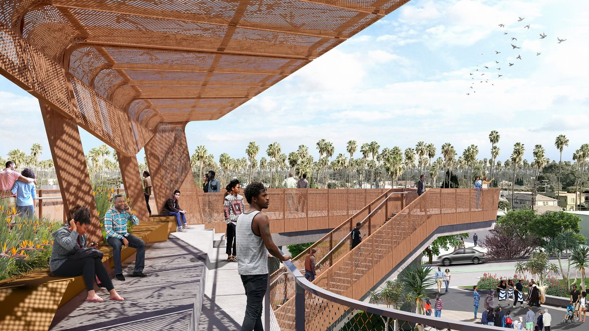 A rendering of people sitting under the shade of a metal overhang or standing at a railing looking out .