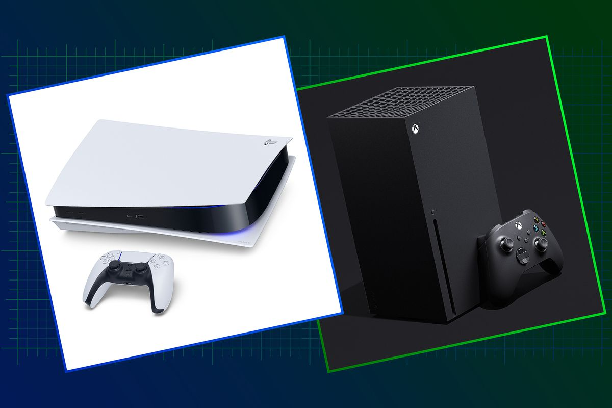 Graphic featuring the new Sony PS5 on the left and the new Xbox Series X on the right