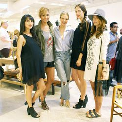 """Racked LA editor Natalie Alcala (yes, she's expecting!) with <a href=""""http://www.stuffshelikes.net/"""">Stuff She Likes</a> blogger Taye Hansberry, <a href=""""http://www.fashionorfamine.com/"""">Fashion or Famine</a> blogger/stylist Christa Jayne, stylist/co-host"""