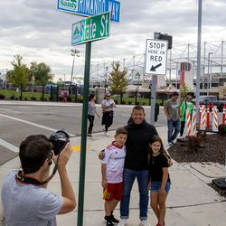 Real Salt Lake's star goalkeeper Nick Rimando poses with his kids Jett Nicholas Rimando and Benny Rose Rimando under a new street sign with his name at Rio Tinto Stadium in Sandy on Friday, Sept. 27, 2019. Rimando will play his last home game on Sunday.