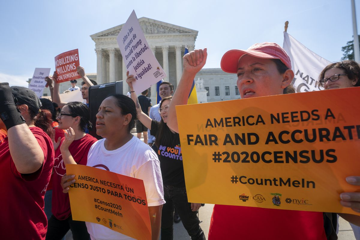 Demonstrators gathered at the Supreme Court as the justices finished the term with a key decision on a census case on June 27, 2019.