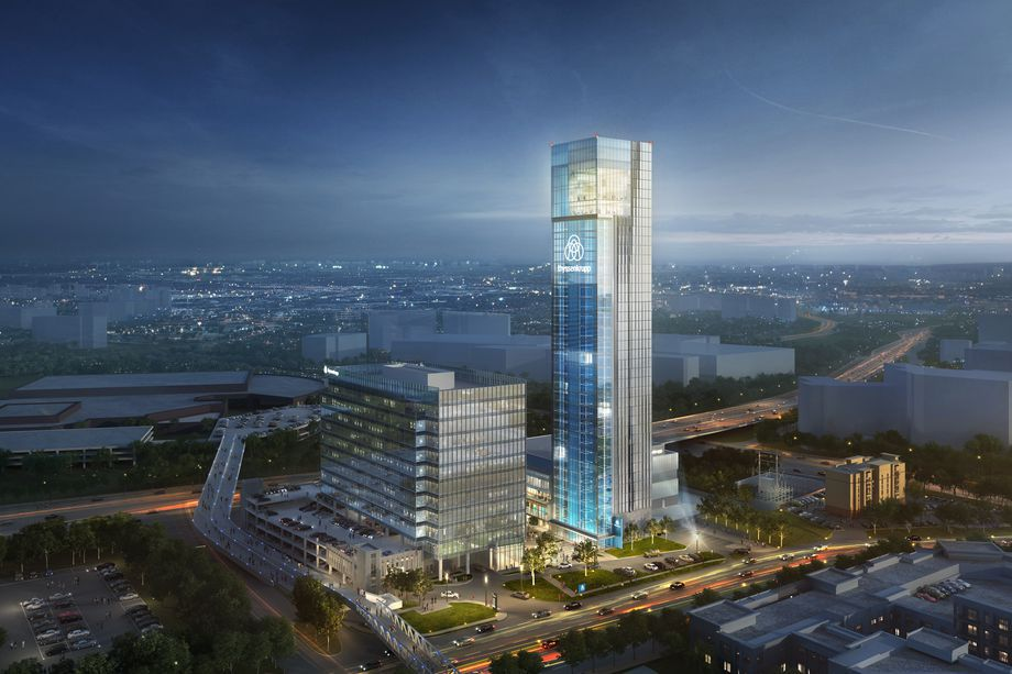 A rendering of a large glassy elevator tower project.
