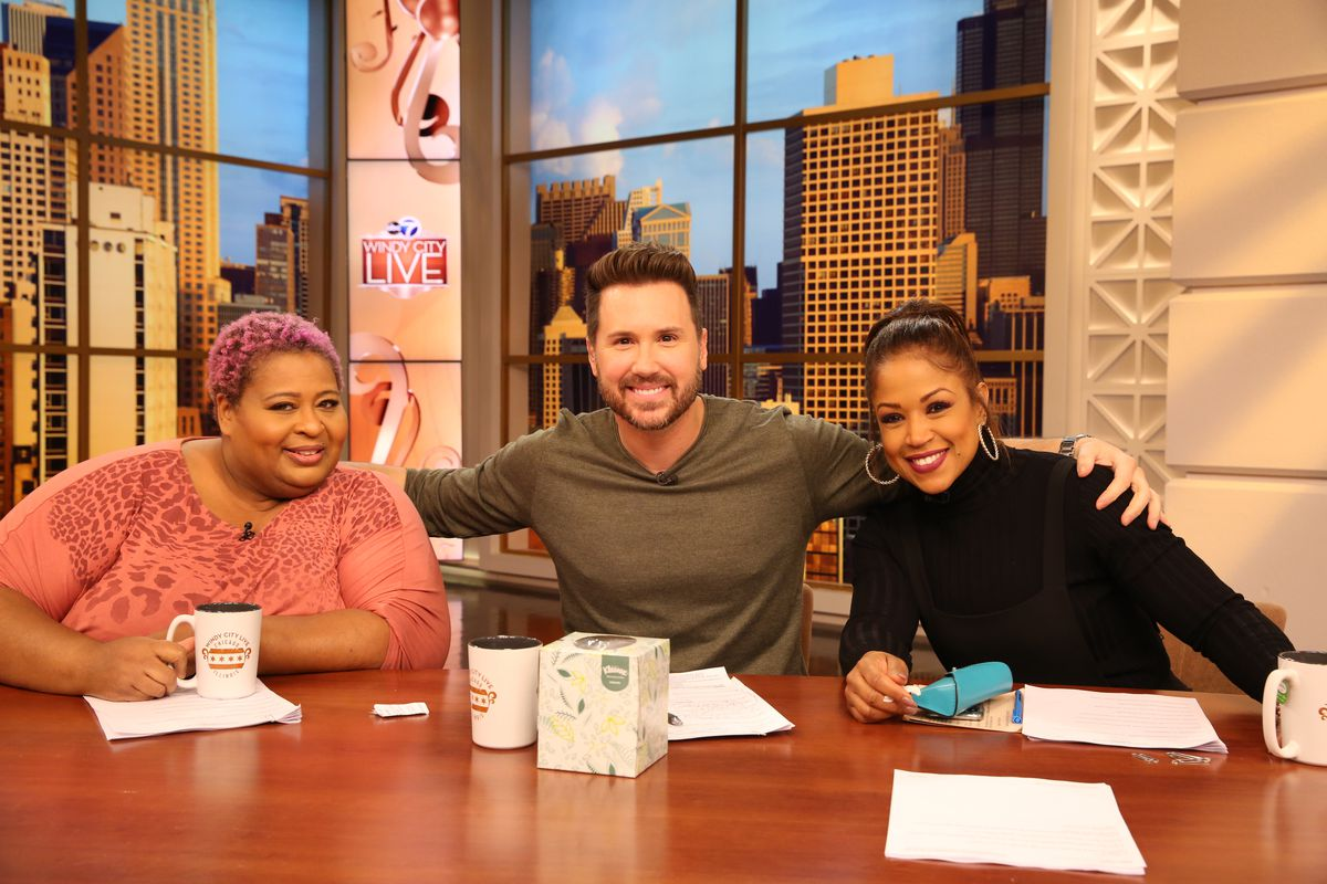"""Chicago actress Erica Watson (left, with Ryan Chiaverini and Val Warner) was a frequent contributor to ABC-7 Chicago's """"Windy City Live."""""""
