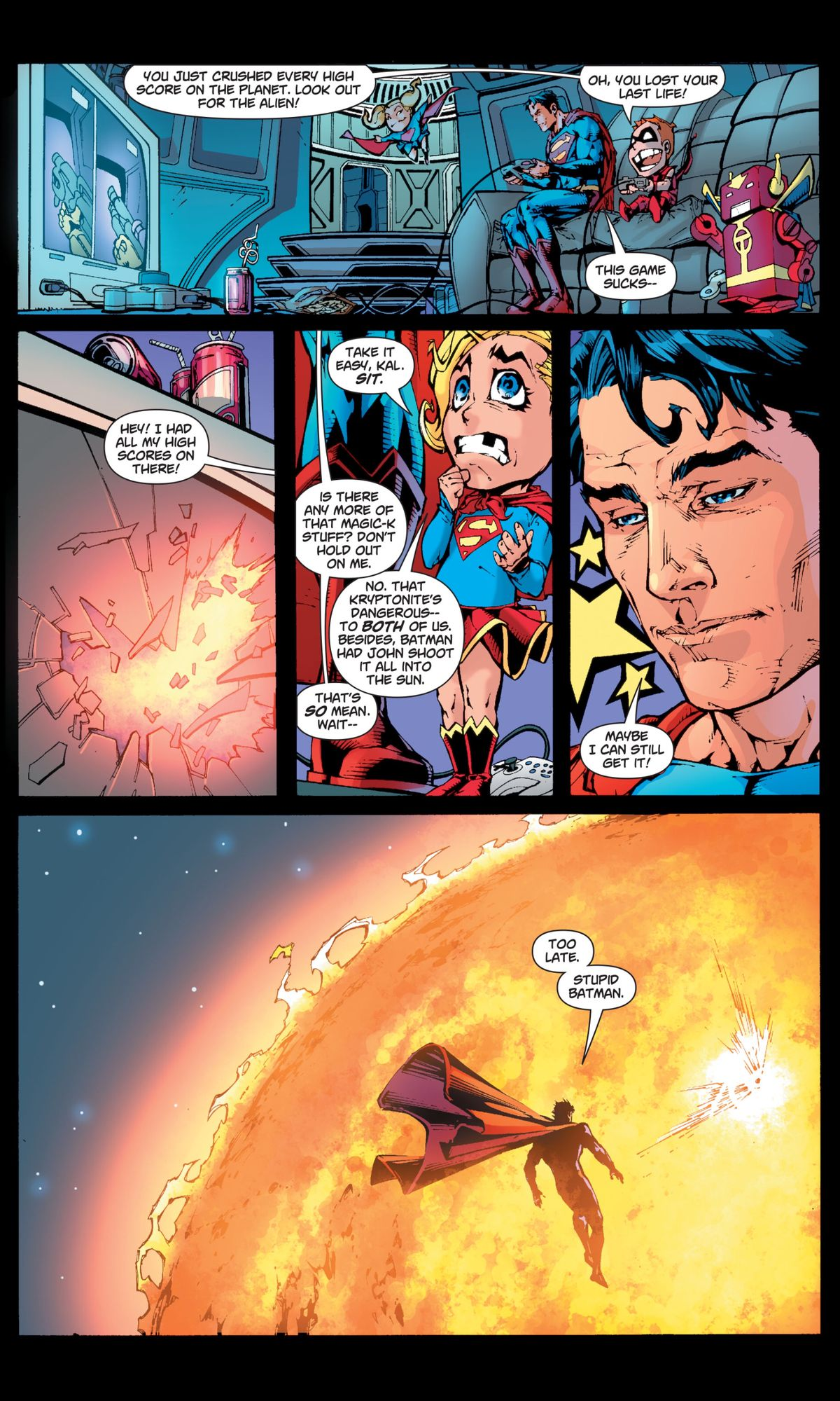 Under the effect of magic kryptonite, Superman beats all the high scores on the video games in the Justice League Watchtower, and then is disappointed when there's no more magic kryptonite, in Superman/Batman #46, DC Comics (2008).