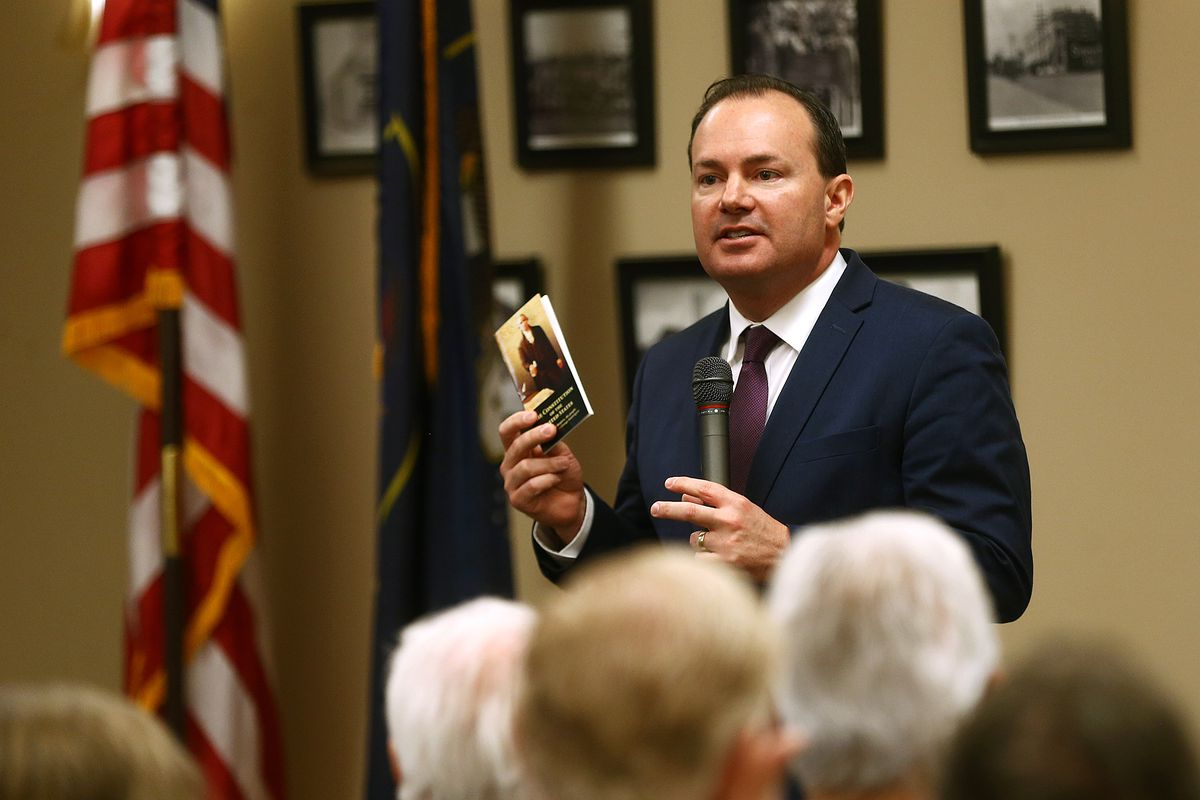 Sen. Mike Lee, R-Utah, speaks during a town hall meeting at the Davis County Library in Farmington on Tuesday, Feb. 18, 2020.