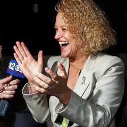 Jackie Biskupski reacts to reports that she is ahead in the Salt Lake City mayoral race during her election night party in Sugar House on Tuesday, Nov. 3, 2015.