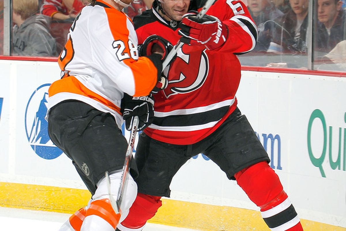 Andy Greene is holding off Claude Giroux.  Can the Devils have someone else on the Devils roster do this next season?  I think so.  Read on as to why and how. (Photo by Paul Bereswill/Getty Images)