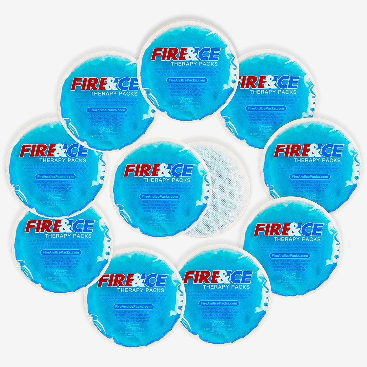 Ten round hot cold packs with cloth backings