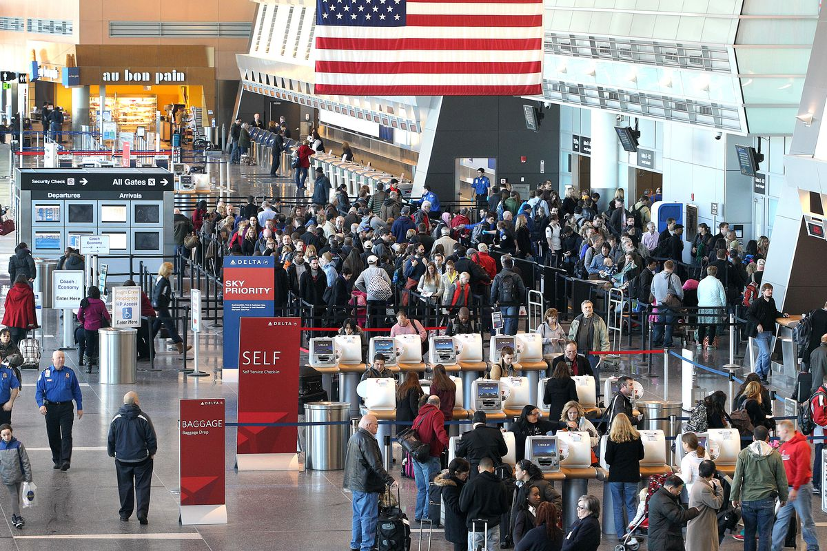 Aerial view of security lines at Logan Airport.