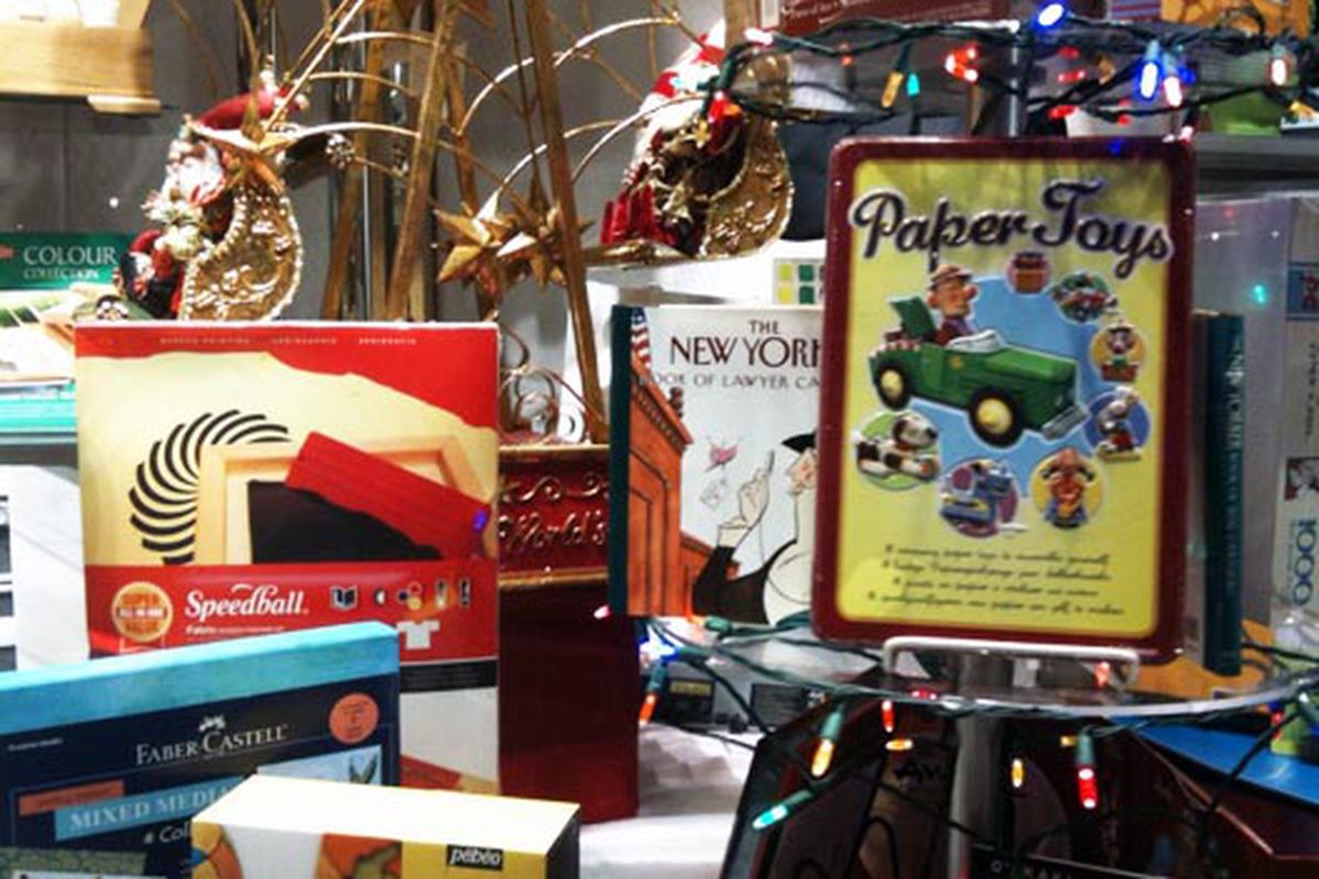 Gift ideas, including a Speedball screen printing kit, in the window of Lee's Art Shop on 57th Street
