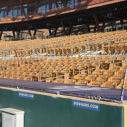 The netting at Camelback Ranch extends to the end of both dugouts. Here is the Dodgers dugout, on the third base side.