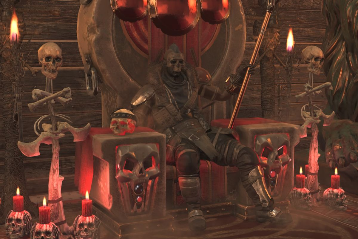 Fallout 76 - a player, dressed as a raider chief, sits on a throne of bones