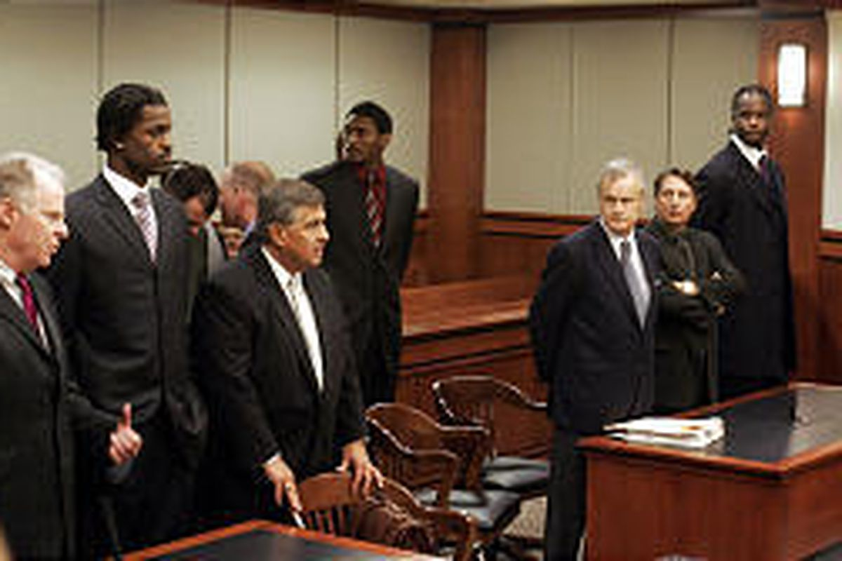 Indiana players Stephen Jackson, second from left, Ron Artest, center, and Jermaine O'Neal appear in court.