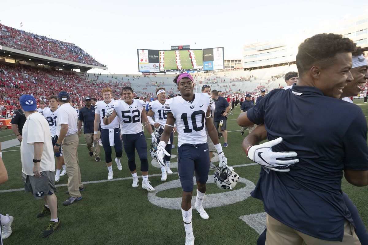 BYU defensive back Isaiah Herron (10), exits the field after BYU's 24-21 victory over Wisconsin at Camp Randall Stadium on Saturday, Sept. 15, 2018.