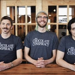 The owners and operators of The Chocolate Conspiracy at their shop in Salt Lake City. From left, investor/manager Steven Ohlson, owner/chocolate maker AJ Wentworth and chocolate maker Michael Watkiss.