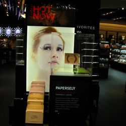 """""""Hot Now"""" displays show off new products like this amazing paper lashes."""