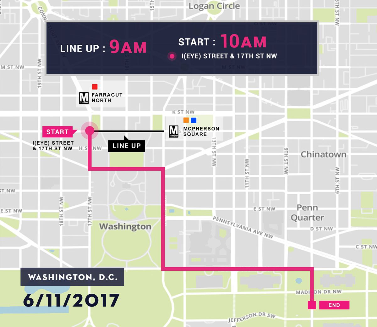The route for the Equality March.
