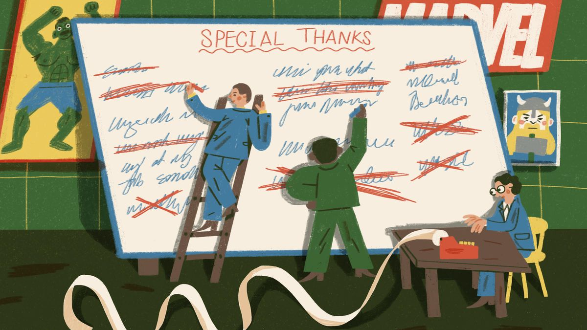 Illustration of two characters crossing out names on a giant whiteboard