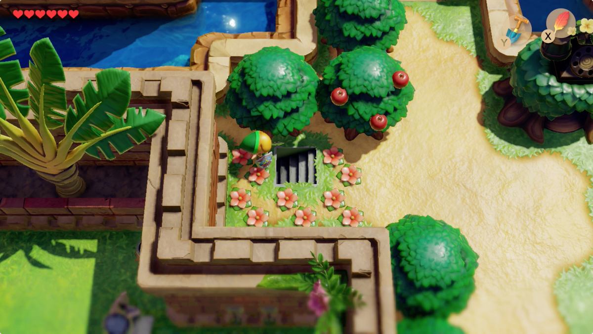 Link's Awakening Kanalet Castle stairs to the tunnel under the wall