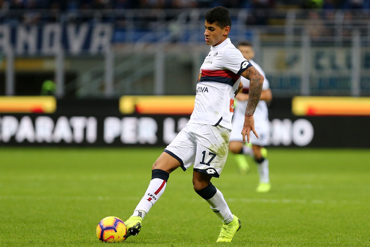 Cristian Romero of Genoa Cfc in action during the Serie A...