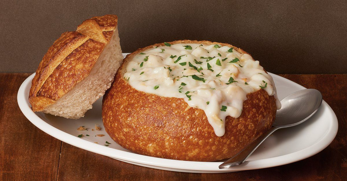 Clam chowder bread bowl from Boudin Bakery