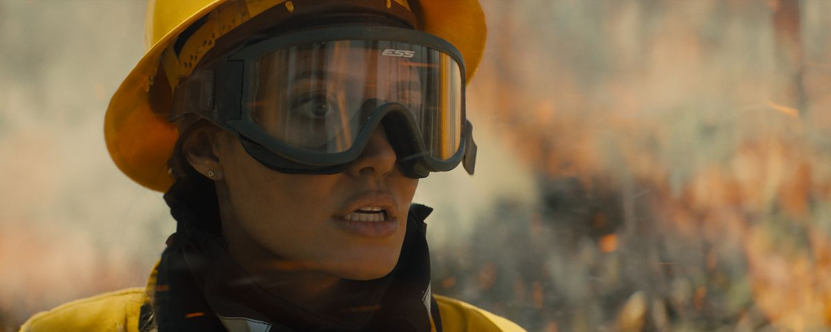 Angelina Jolie in close-up in firefighter gear in Those Who Wish Me Dead