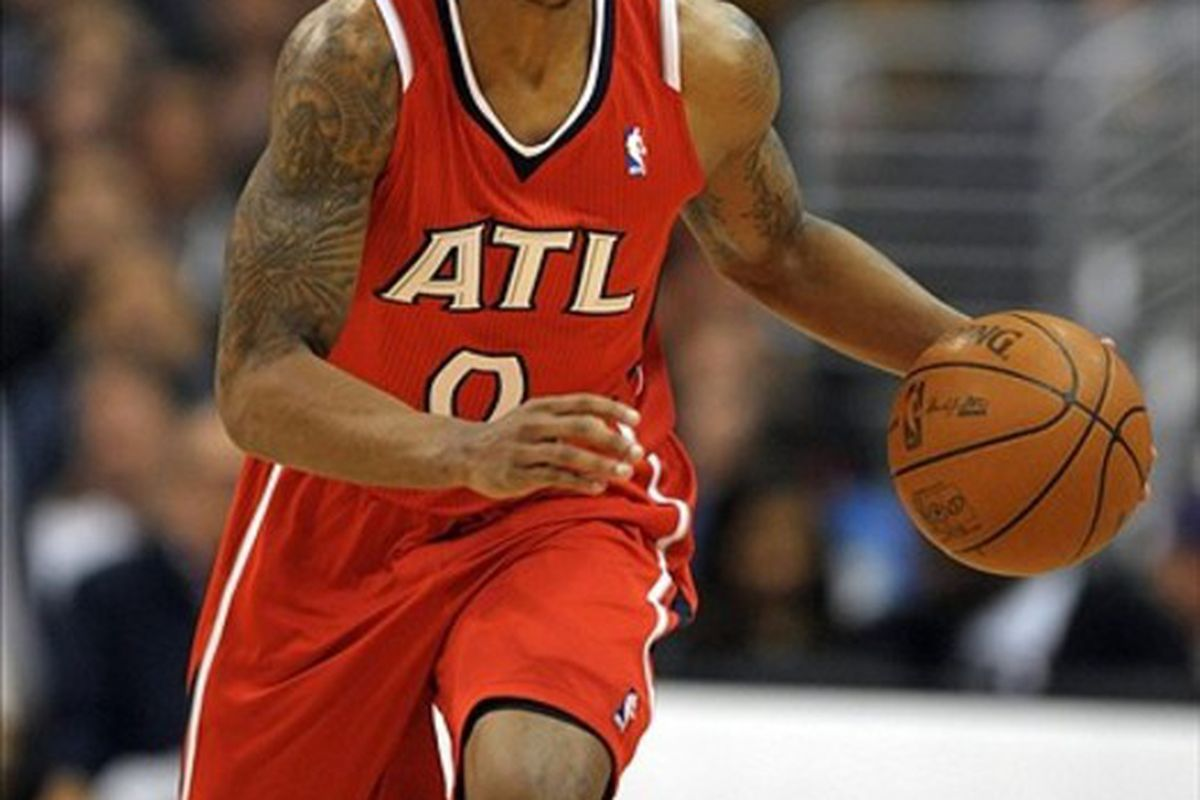 Mar 14, 2012, Los Angeles, CA, USA; Atlanta Hawks guard Jeff Teague (0) dribbles the ball against the Los Angeles Clippers at the Staples Center. The Clippers defeated the Hawks 96-82. Mandatory Credit: Kirby Lee/Image of Sport-US PRESSWIRE